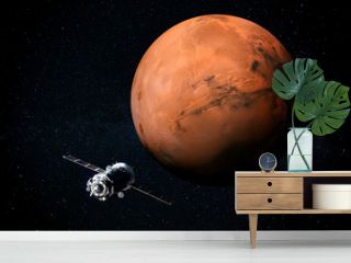 Exploration of Mars the Red planet of the solar system in space. This image elements furnished by NASA.
