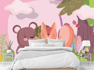 little teddy bear and squirrel cartoon character forest foliage nature landscape