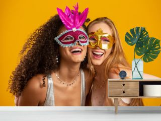 Beautiful women dressed for carnival night. Smiling women ready to enjoy the carnival with a colorful mask.