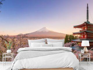 Mountain Fuji and Chureito pagoda with cherry blossom