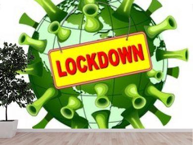 Coronavirus Covid-19 World Lockdown Panel Vector illustration isolated on white