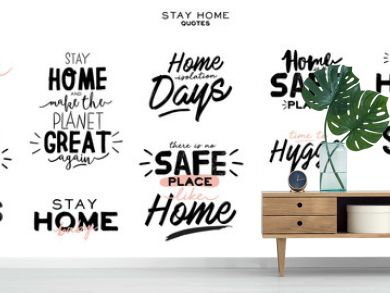 Set of hand lettering with Coronavirus messages for stay home. Protect from Covid-19 epidemic handwritten hashtag. Self-isolation and quarantine phrases for social media, banners, web, stickers, tags