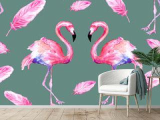 Watercolor seamless pattern of pink flamingo