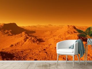 Wide panorama of mars - the red planet - landscape with mountains and impact crater during sunrise or sunset