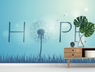 hope typography with dandelion on blue sky background vector illustration EPS10