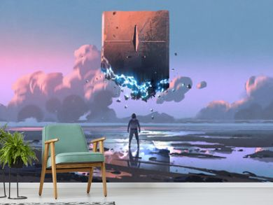 a man looking at the monolith that floating in the sky, digital art style, illustration painting