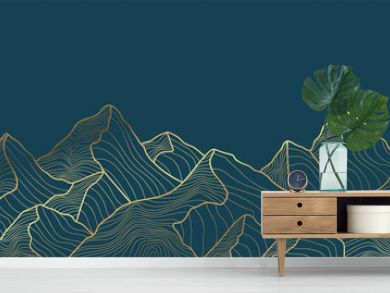 andscape wallpaper design with Golden mountain line arts, luxury background design for cover, invitation background, packaging design, fabric, and print. Vector illustration.