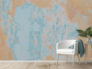 old shabby wall in yellow-blue shades