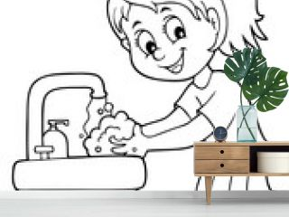 Coloring book girl washing hands theme 1