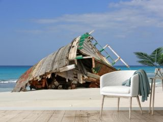 Abandoned ship wreck on the beach of Socotra island