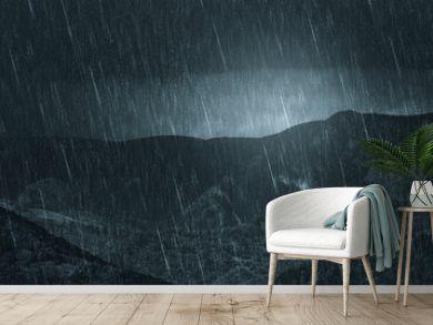 rainy weather dark landscape, mountain view during heavy rain