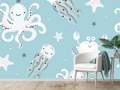 Cute seamless pattern with octopus, jellyfish, starfish, crab.