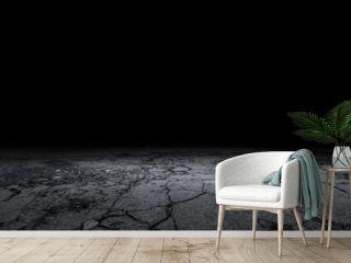 Cracked Stone Floor Concrete Background Black Empty Scene