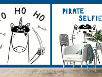 Collection of cards, posters with cute funny animals, pineapple, cactus, sailors, pirates, nautical quotes. Hand drawn childish vector illustration. Line drawing. Design concept for children print.