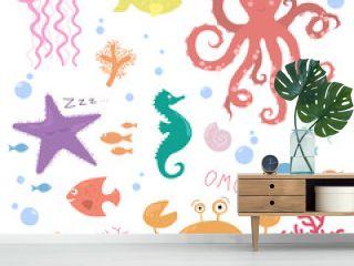 Children illustration of underwater life (jellyfish, octopus, seahorse, starfish, crab, shell, fish, corals)