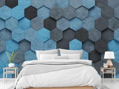 Blue Hexagon Tiles 3D Pattern Background