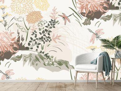 chrysanthemum flowers nature landscape view vector sketch illustration japanese chinese oriental line art ink seamless pattern