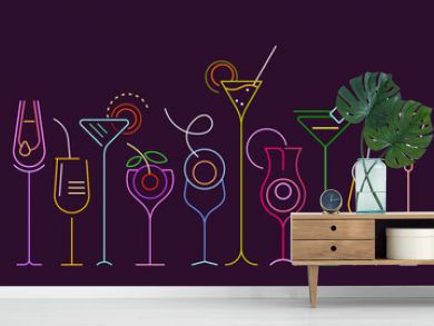 Neon colors isolated on a dark purple background Cocktails vector illustration. A row of ten different cocktail glasses.