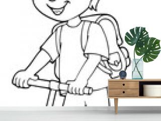 Coloring book boy on kick scooter theme 1