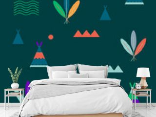 Geometric minimal native American pattern, illustration. Stylized summer outdoors play camp, reservation design. Nature mountains forest,  outdoors adventure boho style with tee pee tent and feathers