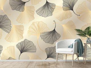 Luxury gold Ginkgo background design vector.