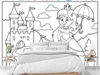 Coloring book princess with umbrella theme 3