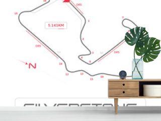 Silverstone formula 1 grand prix motor racing circuit minimal diagram with labels