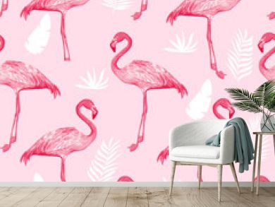 Hand drawing print design. Flamingo seamless pattern vector illustration.