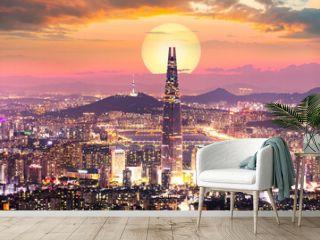 Sunset of Seoul City and Seoul Tower South Korea