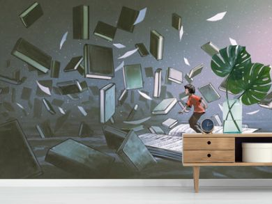 boy standing on the opened book and looking at other books floating in the air, digital art style, illustration painting
