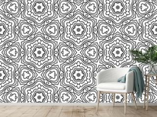 Abstract thin line curly seamless pattern. Linear ornamental geometric background. Wrapping paper. Vector illustration.