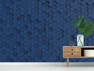 Hexagonal dark navy blue background texture. 3d illustration, 3d rendering
