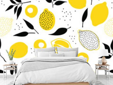 Tropical seamless pattern with yellow lemons and lemon slices. Hand drawn lemons pattern on white background. Fruit repeated background. Vector bright print for fabric, wallpaper, design, party paper.