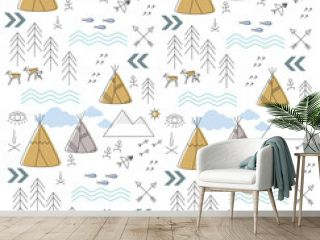 background with a childish ethnic pattern