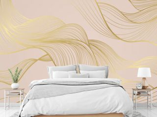Golden lines pattern background. Luxury gold Line arts wallpaper. Design for cover, invitation background, packaging design, fabric and print. Vector illustration.