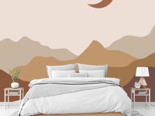 Vector abstract contemporary aesthetic background landscape with mountains, road, moon. Boho wall print decor in flat style. Mid century modern minimalist art and design
