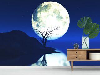 3D moonlit landscape with old gnarly tree