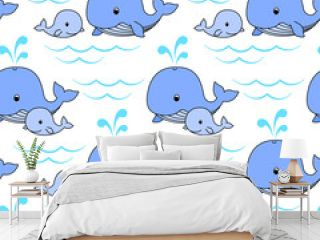 Mother whale and baby whale swim on the waves, cute blue whales on a white background. Vector seamless pattern for wrapper, wrapping paper, packaging, kid's wallpaper, printing on textile and clothes