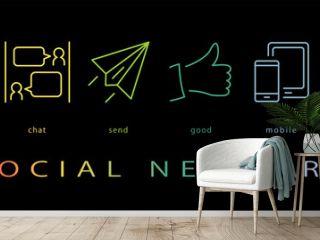 ソーシャルネットワーク ネオンカラーのラインアイコン