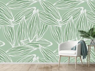 Random pale green leaf abstract outline seamless pattern. Light contoured botanic ornament.