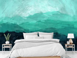 Abstract gradient green blue brush strokes oil art mountains, Natural landscape.