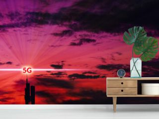Antenna and Transceiver 5G, 4G on sunset background.