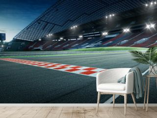 Evening scene asphalt international race track with starting or end line, digital imaging recomposition background.
