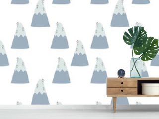 seamless pattern with scandinavian mountain
