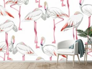 Seamless pattern with white flamingos. Simple design to fabric. Light pattern.