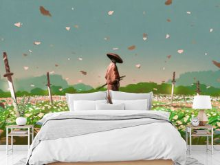 samurai standing among the swords impaled on the ground in the flower fields, digital art style, illustration painting