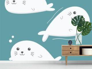 Little Seal. Character Design. Vector Illustration. Cartoon.