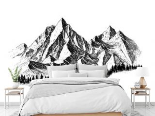 Mountain with pine trees and landscape black on white background. Hand drawn rocky peaks in sketch style.