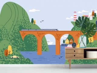 Railway bridge with moving train at beautiful seascape and city on mountain vector flat illustration. Amazing view on seaside town, sea, lighthouse and cliffs. Panoramic landscape or touristic place