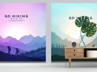 Vector brochure cards set. Travel concept of discovering, exploring and observing nature. Hiking. Climbing. Adventure tourism. Flat design for social media, blog post, poster, invitation, gift card.